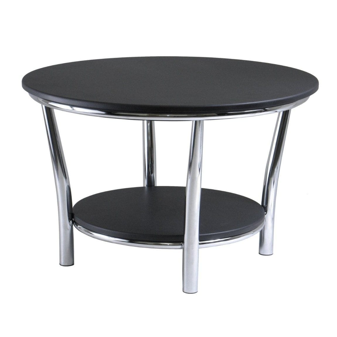Winsome Wood Maya Round Coffee Table, Black Top, Metal Legs