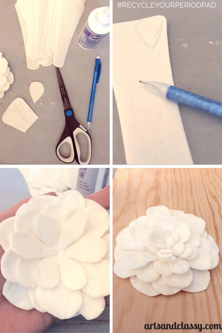 DIY : HANGING ROSE ART TUTORIAL #RecycleYourPeriodPad  via www.artsandclassy.com.png