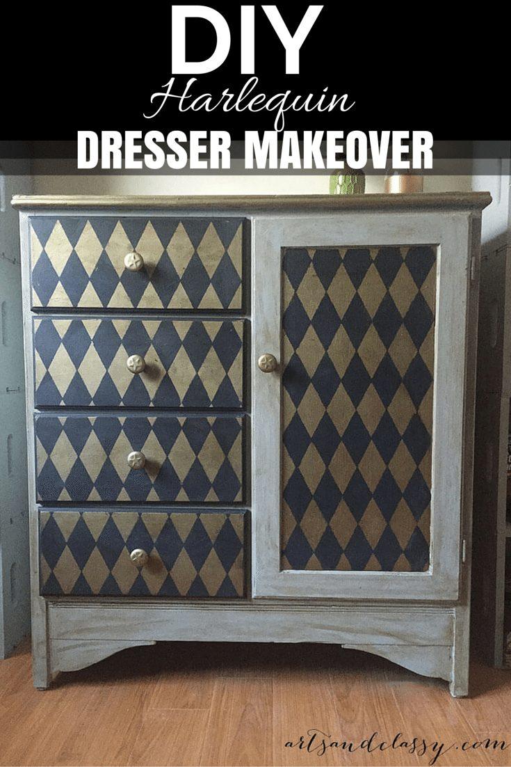 DIY Harlequin Dresser makeover!