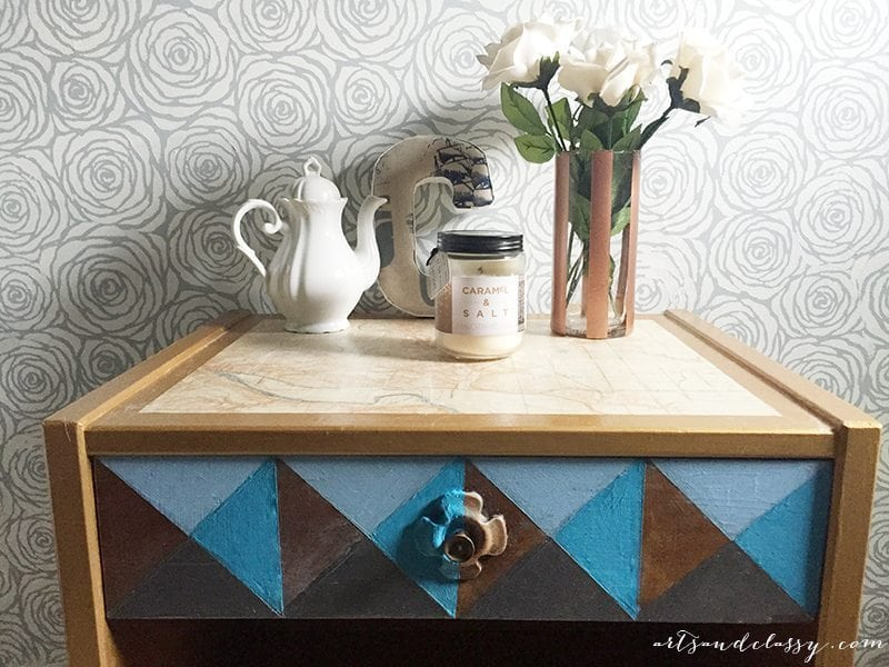 Mid Century Modern Table Geometric Painted with Modern Masters Metallic Paint