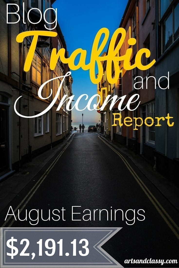 Blog Traffic and Income Report - August Earnings - $2,191.13