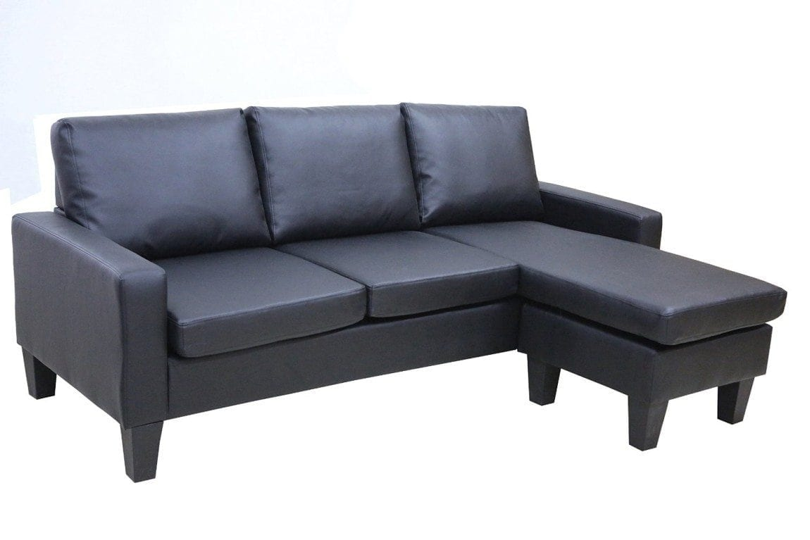 Large Black Leather Modern Contemporary Upholstered Quality Sectional