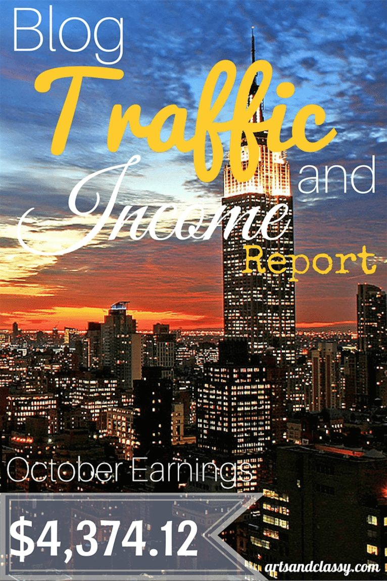 October 2015 Blog Traffic and Income Report from blogging over at Arts & Classy. I am breaking down my earnings. This is perfect for the newbie blogger really trying to improve their traffic and income. Check out more at www.artsandclassy.com