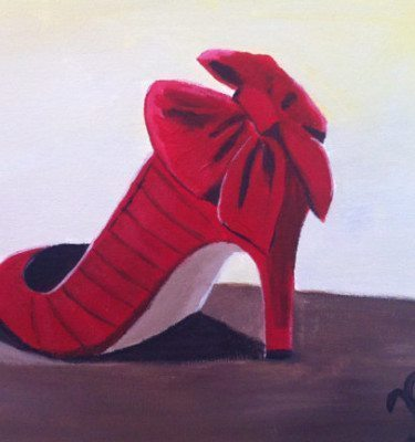Red Vintage Heels for the Love of Old Hollywood Original Painting - 11x 14