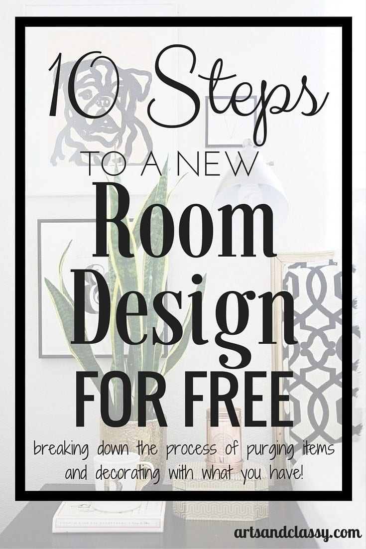 10 steps to a new room design for free. The whole precess of decorating is being broken down to purging items taking up space and decorating with what your already have.