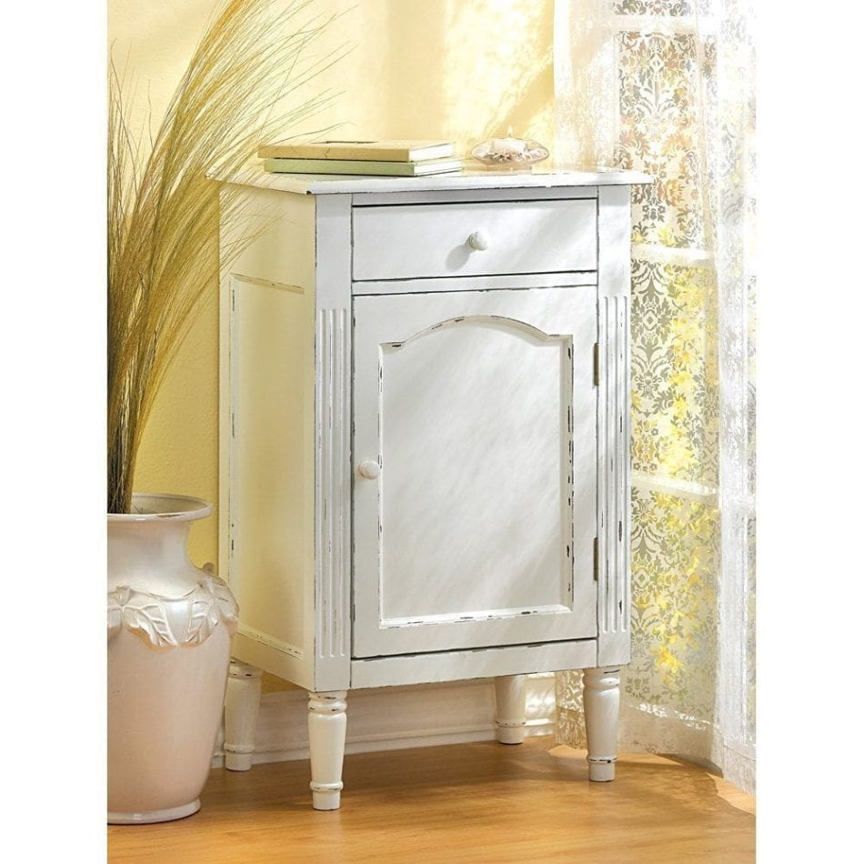 Antiqued Distress White Finish Cabinet Table Nightstand
