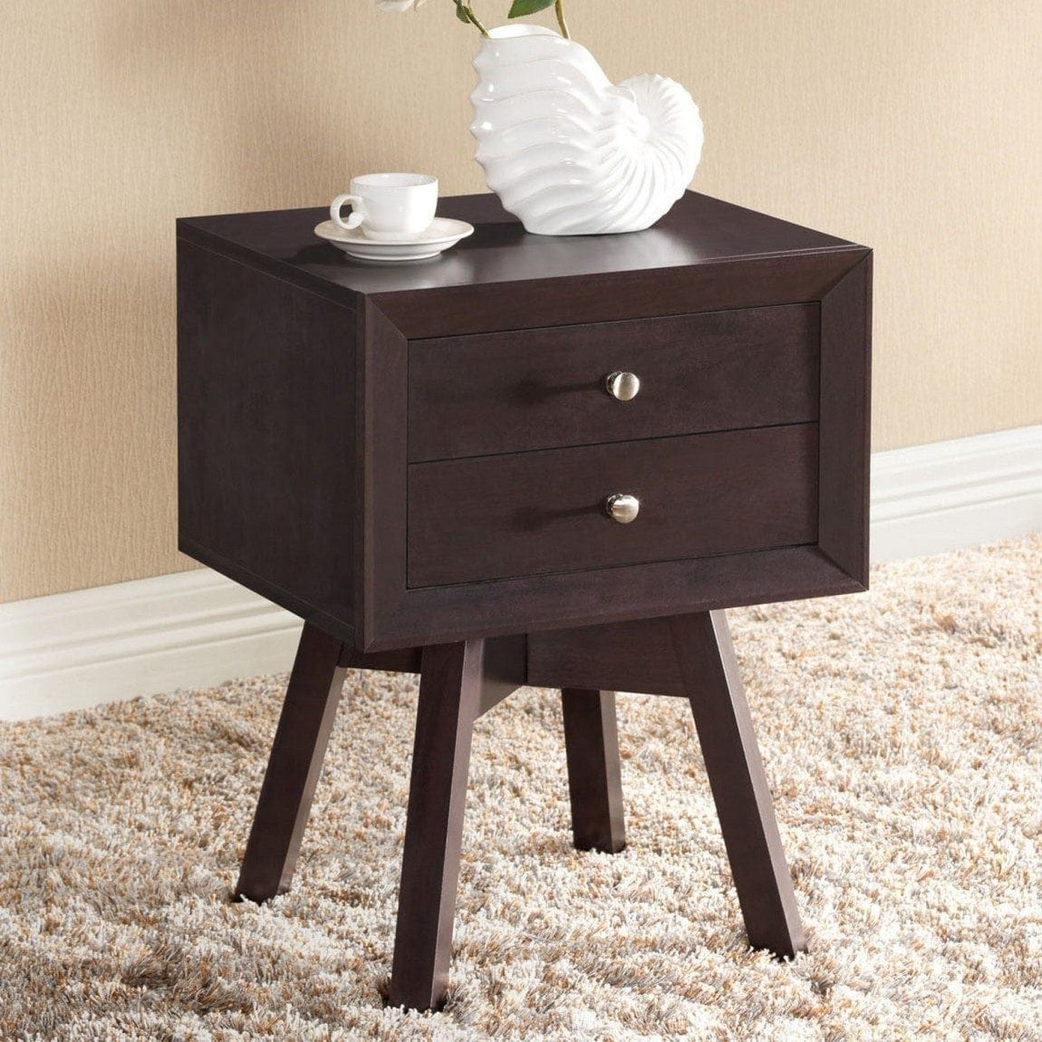 Baxton Studio Warwick Modern Accent Table and Nightstand, Brown
