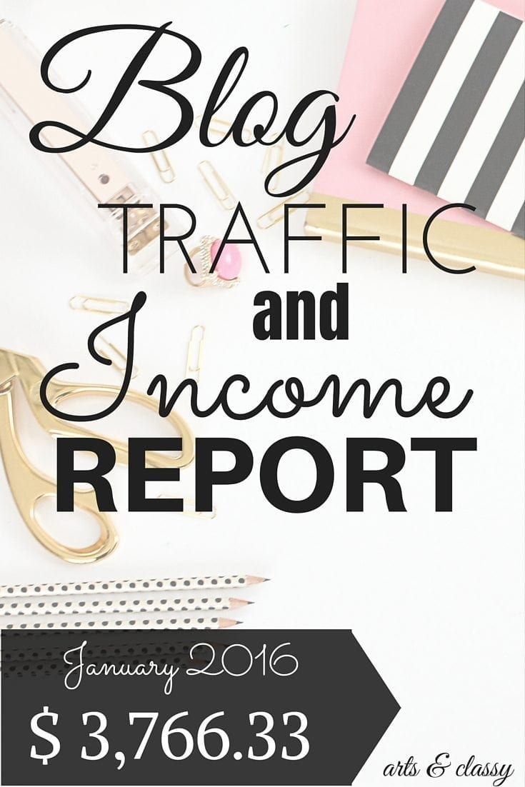 Blog traffic and income report for January 2016. Learn how I made $3,766.33 part time while I was decorating a talk show for half the month. I am breaking down my earnings. This is perfect for the newbie blogger really trying to improve their traffic and income. Check out more at www.artsandclassy.com