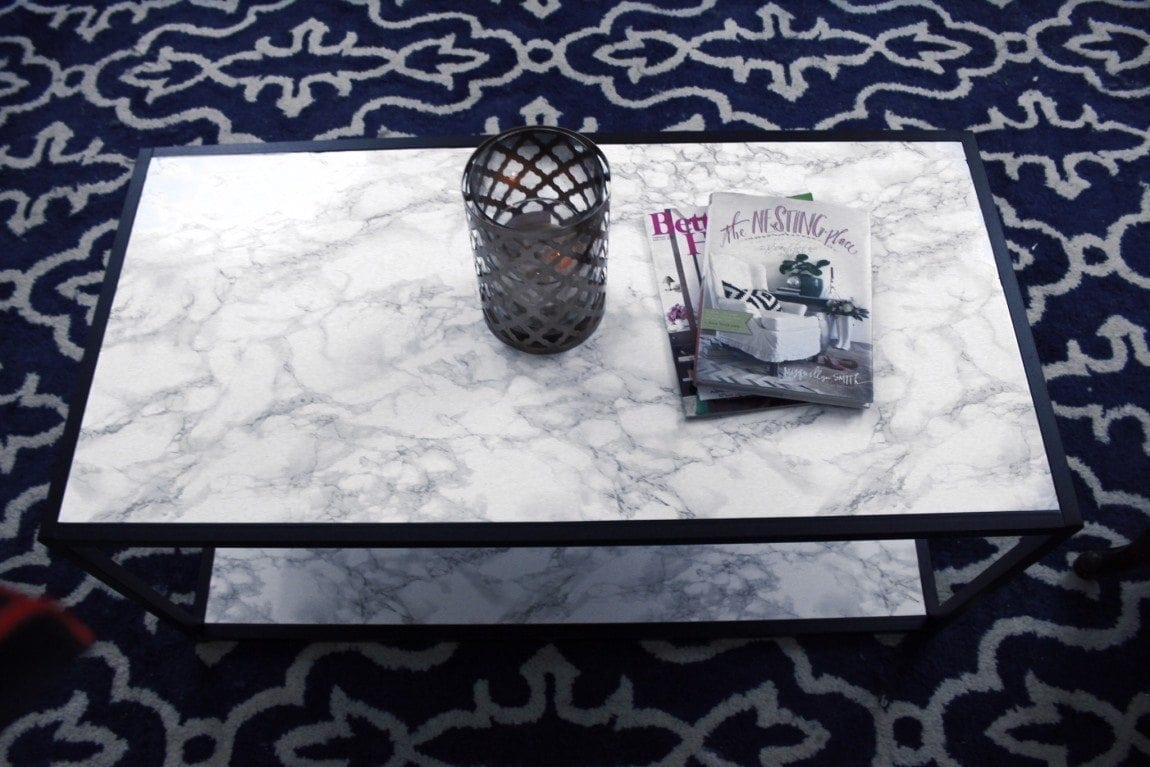 DIY Faux Marble Coffee Table Makeover Close Up