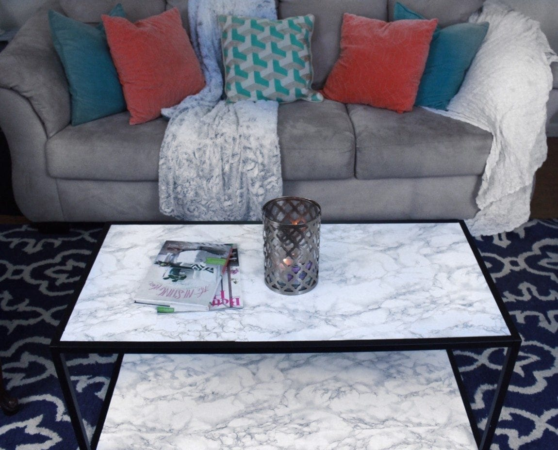 DIY Faux Marble Coffee Table Makeover. I love this table now!