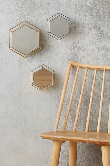 Hexagon Outline Mirror