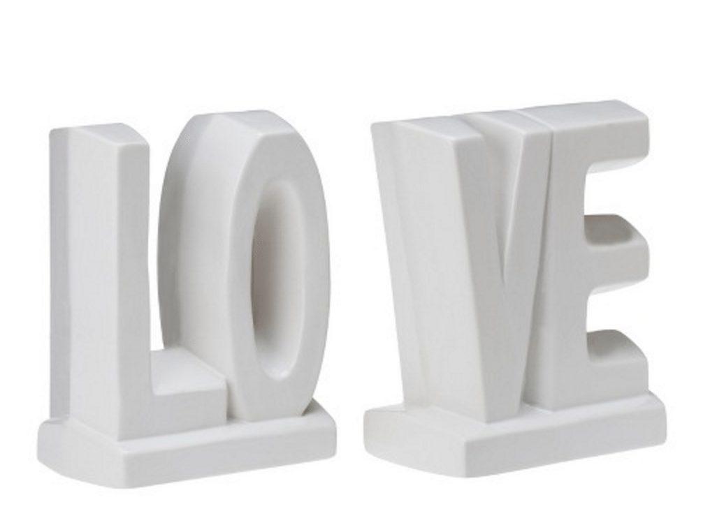 LOVE Ceramic Bookend Set
