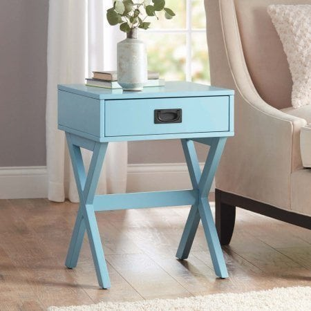 Modern & Stylish X-Leg One-Drawer Accent: Side Table or Nightstand in TEAL, 24-in (61cm) High