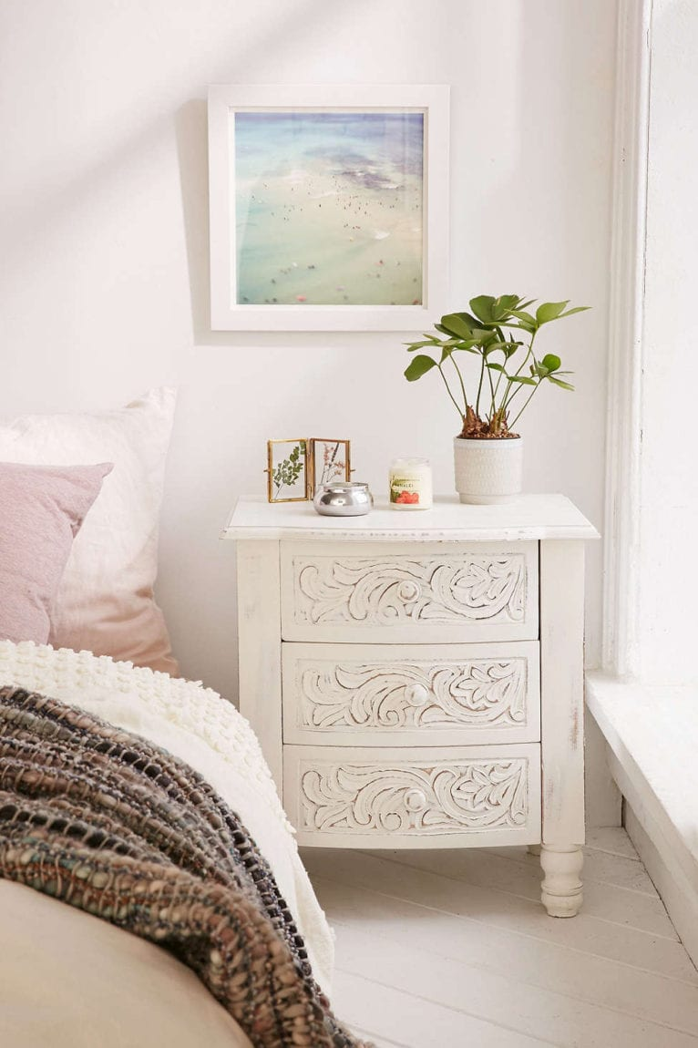 Riya Carved Wood Nightstand