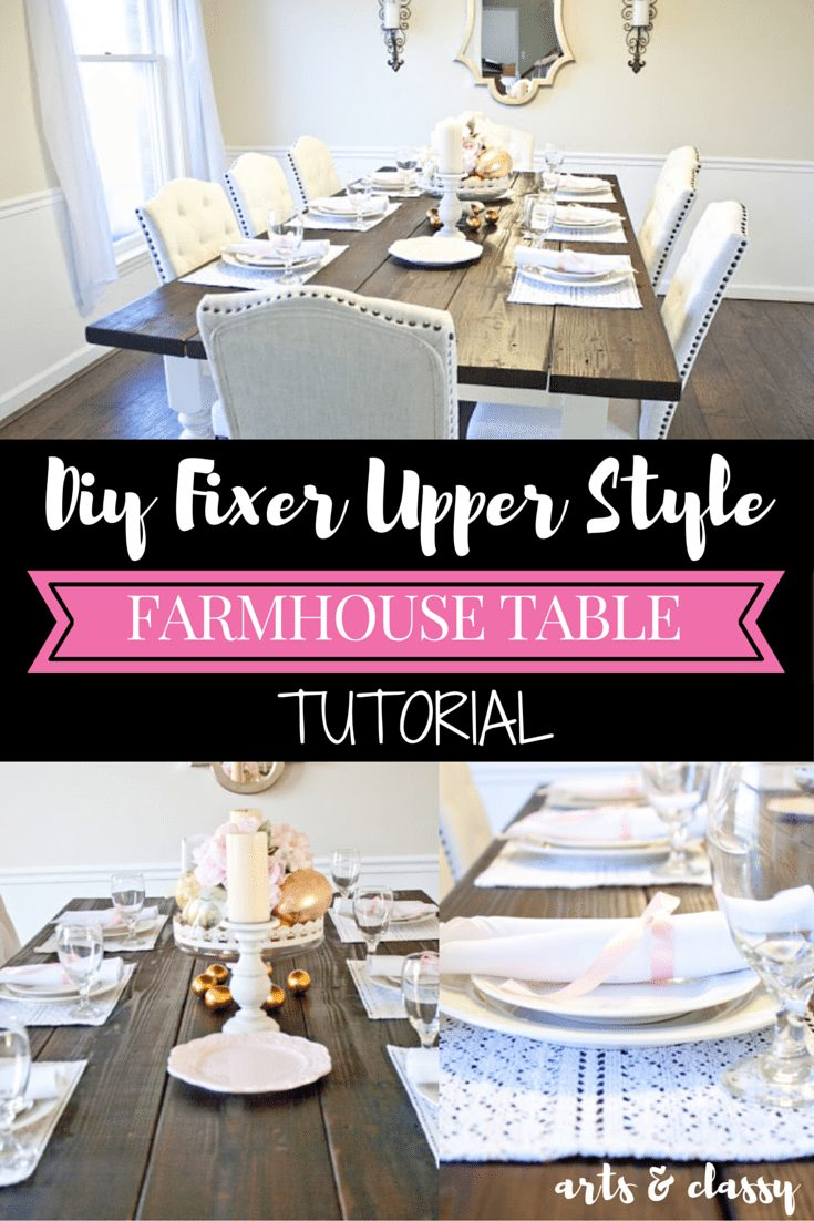 diy fixer upper style farmhouse table arts and classy. Black Bedroom Furniture Sets. Home Design Ideas