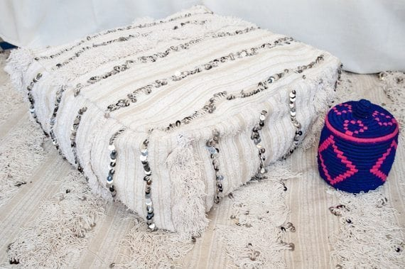 Beautiful Handira pouf made from traditional berber wedding blanket - handmade, vintage, Moroccan, with sequins