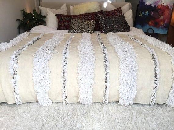 Moroccan wedding blanket, %22BIANCA%22 Vintage handira, Berber wedding blanket, Handira, Morrocan bedding, Moroccan decor, Morrocan blanket