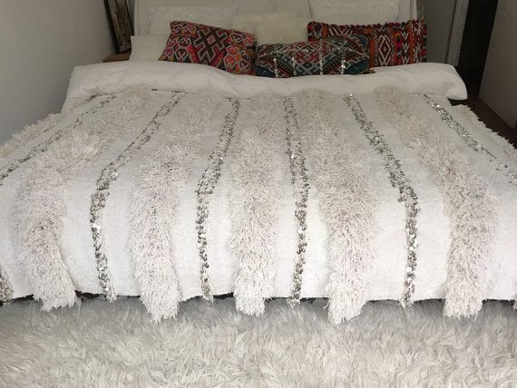Moroccan wedding blanket %22STELLA%22 vintage fluffy wedding blanket, Berber Handira, Morrocan bedding, Moroccan decor, Morrocan blanket