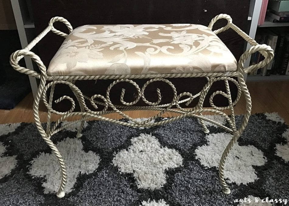 Easy DIY Metal Ottoman Glam Makeover