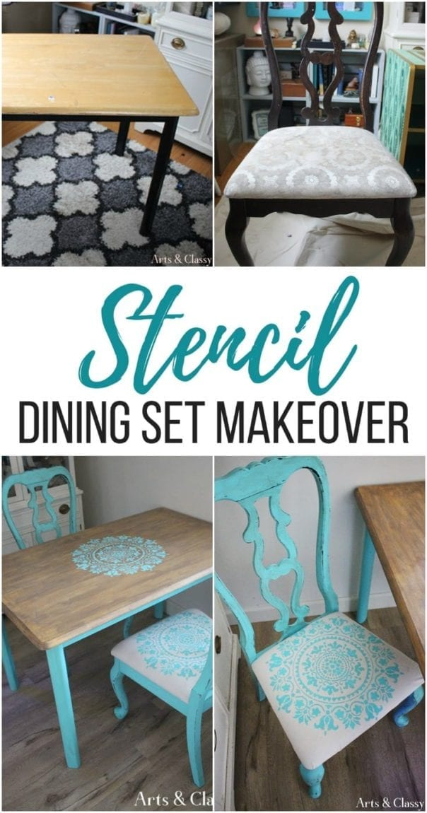 Follow this step-by-step stencil table top makeover and see how I transformed a curbside dining set with a gratitude stencil. How to stencil a table top and dining chairs.