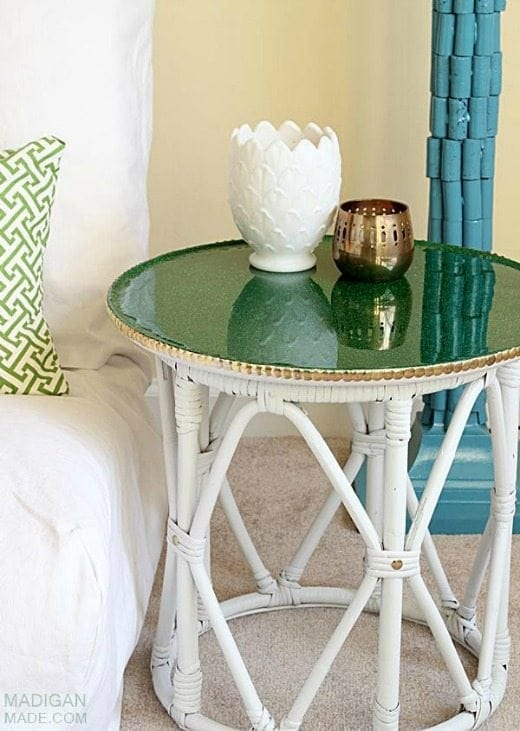 Green glitter top table - Green is a hot home decor trend right now, so check out these gorgeous furniture flips. Furniture makeovers with all shades of green paint | Green painted furniture.