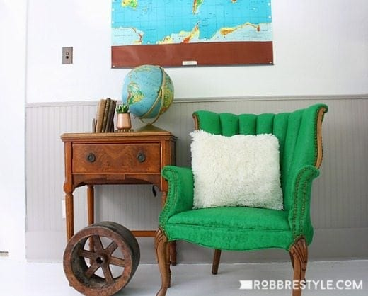 Green painted fabric chair - Green is a hot home decor trend right now, so check out these gorgeous furniture flips. Furniture makeovers with all shades of green paint | Green painted furniture.