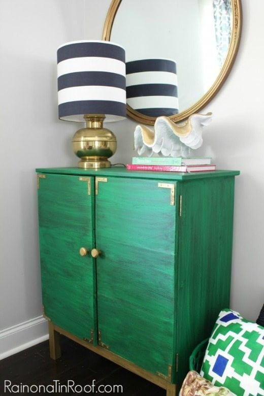 Ikea Tarva hack with green and gold accents - Green is a hot home decor trend right now, so check out these gorgeous furniture flips. Furniture makeovers with all shades of green paint | Green painted furniture.