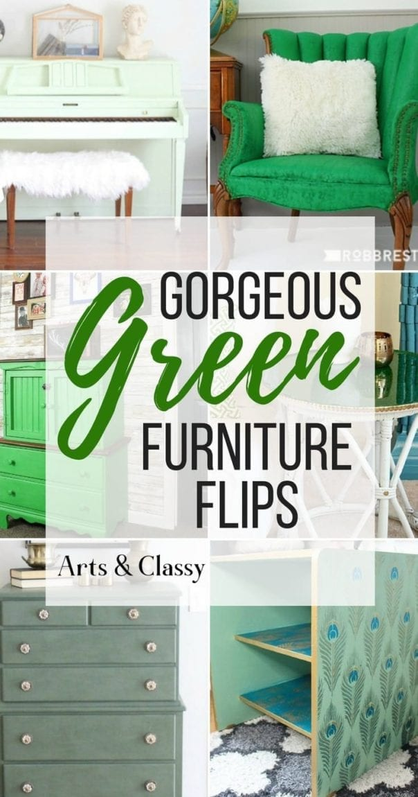 Green is a hot home decor trend right now, so check out these gorgeous furniture flips. Furniture makeovers with all shades of green paint | Green painted furniture.