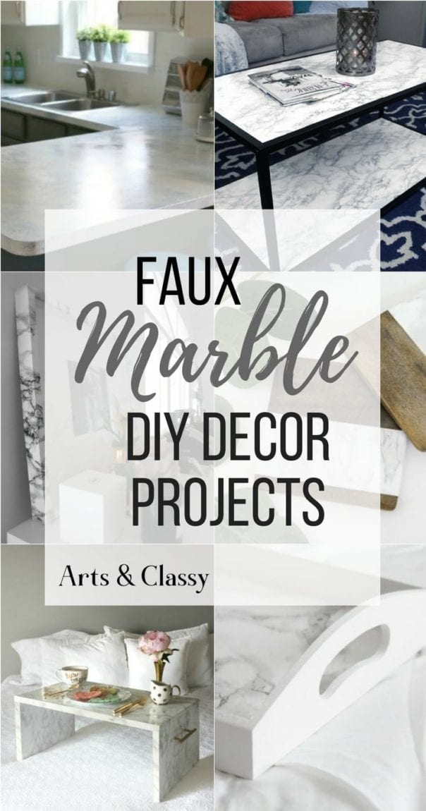 These DIY Faux Marble Decor tutorials are surprisingly easy and budget friendly. Whether you want to tackle a faux-finish or use marble contact paper, there are DIY ideas for every decorator | faux marble counter tops, coffee tables, and decor accessories.