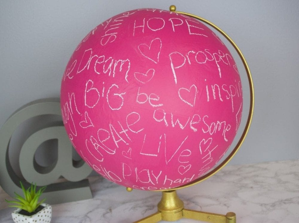 bright pink painted globe