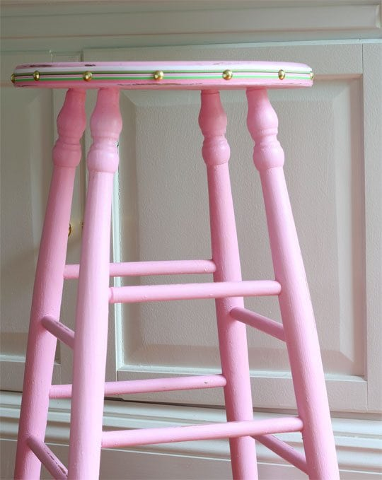 preppy painted pink barstool