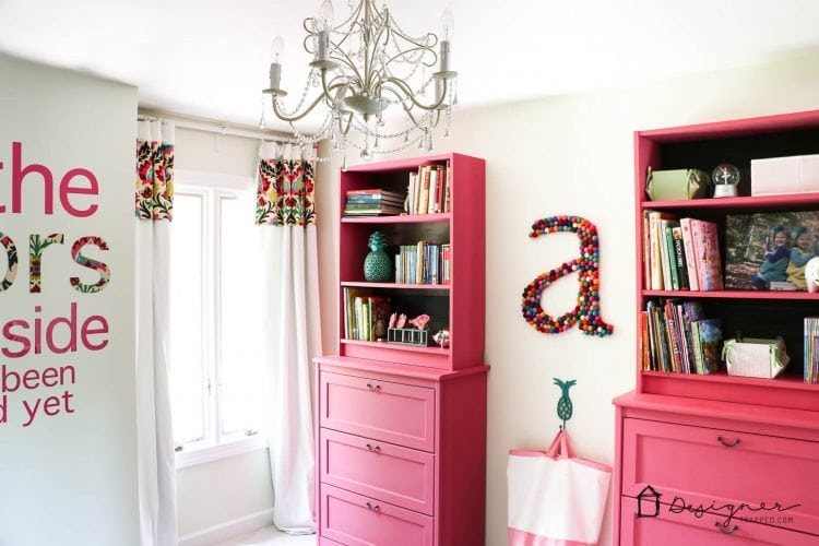 pink bookshelf ikea hack