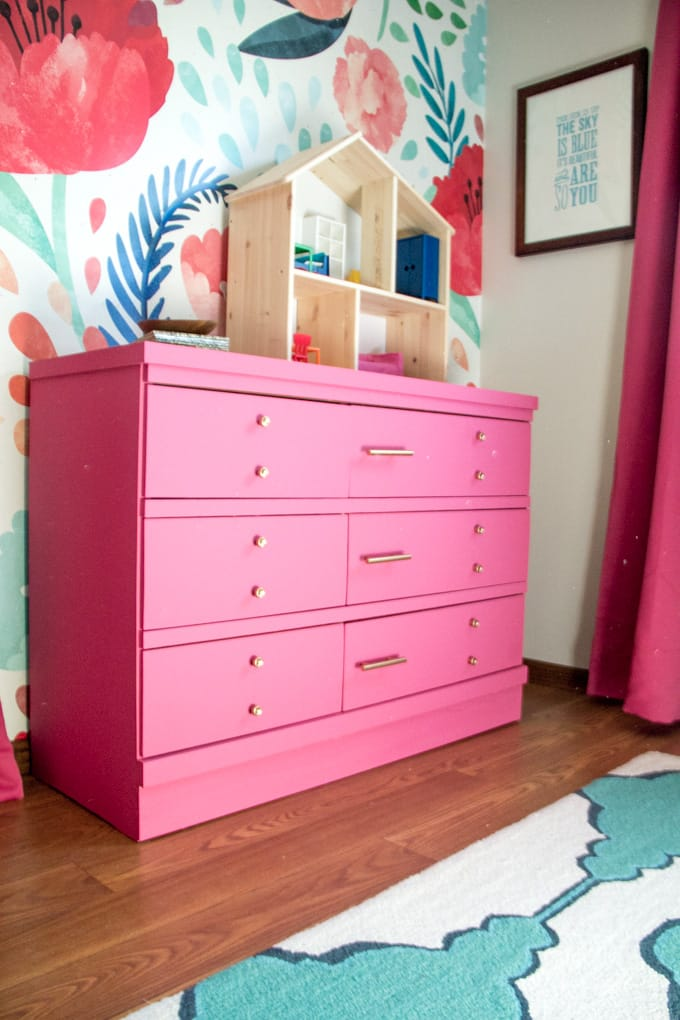 bright pink painted dresser