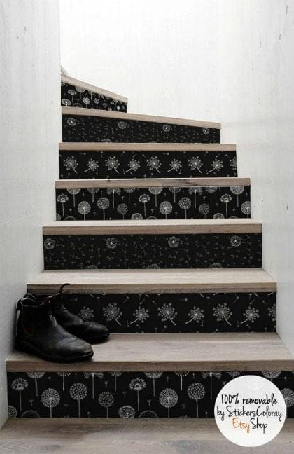Wallpaper Stairs - Decorating with wallpaper is so popular in home decor. Many peel-and-stick options are temporary, making this the perfect way for renters and homeowners alike to spruce up their space | Rental-friendly decorating with wallpaper.