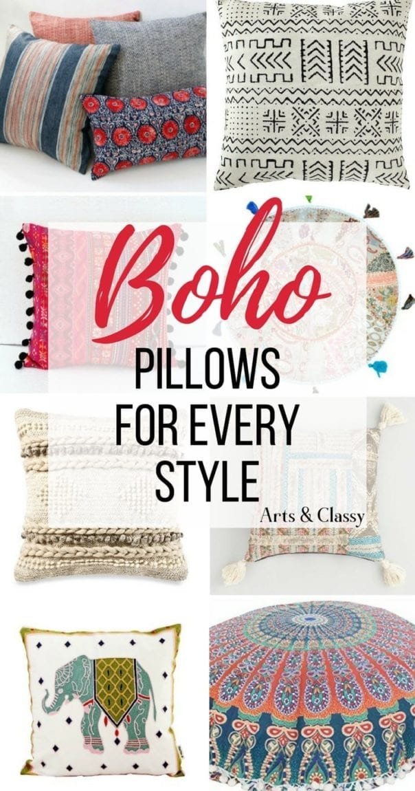 Shop all of these Boho pillows and pillow covers. You can quickly and easily add a bit of Bohemian style without breaking your decorating budget. I've gathered cheap and chic pillows for every style, from colorful to neutral, simple to elaborate. Boho pillows for every space in your home with floor pillows, sofa pillows, and bedroom pillows galore!