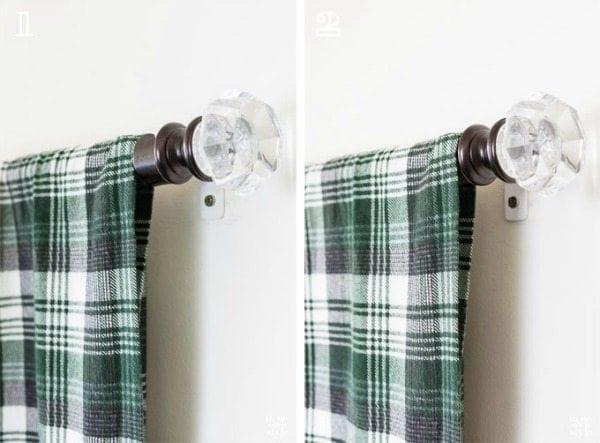 DIY hanging headboard with a curtain rod
