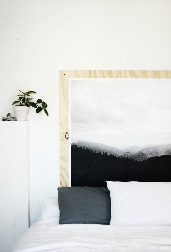 giant picture headboard on plywood