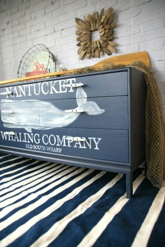 nautical whale dresser - Check out these 15 Nautical Furniture Flips - DIY furniture inspiration with coastal flair. How to paint furniture for nautical and coastal home decor.
