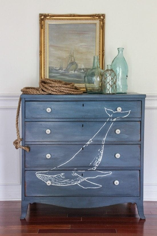 nautical dresser - Check out these 15 Nautical Furniture Flips - DIY furniture inspiration with coastal flair. How to paint furniture for nautical and coastal home decor.