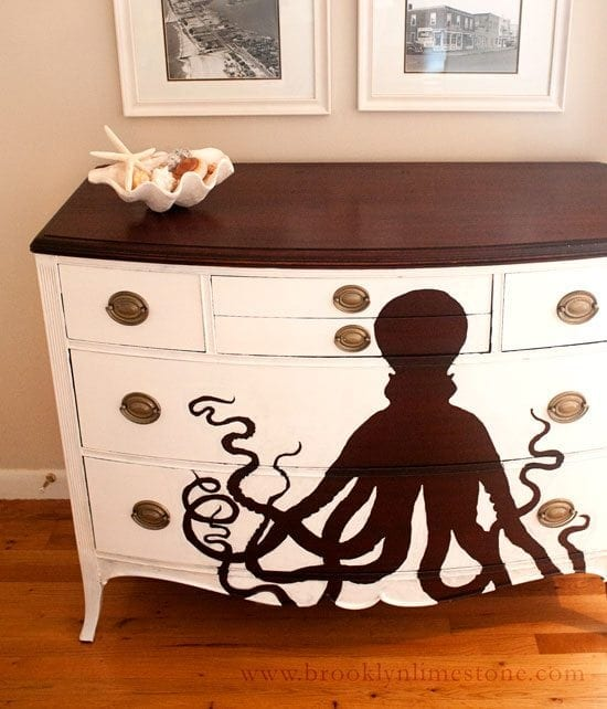 octopus painted dresser - Check out these 15 Nautical Furniture Flips - DIY furniture inspiration with coastal flair. How to paint furniture for nautical and coastal home decor.