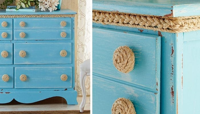 DIY rope knobs - Check out these 15 Nautical Furniture Flips - DIY furniture inspiration with coastal flair. How to paint furniture for nautical and coastal home decor.