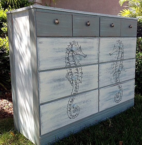sea horse dresser - Check out these 15 Nautical Furniture Flips - DIY furniture inspiration with coastal flair. How to paint furniture for nautical and coastal home decor.