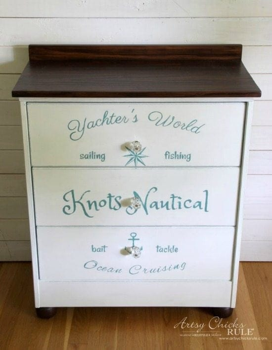 nautical small dresser - Check out these 15 Nautical Furniture Flips - DIY furniture inspiration with coastal flair. How to paint furniture for nautical and coastal home decor.