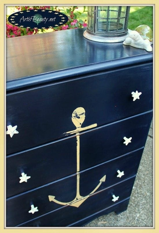 nautical anchor dresser - Check out these 15 Nautical Furniture Flips - DIY furniture inspiration with coastal flair. How to paint furniture for nautical and coastal home decor.
