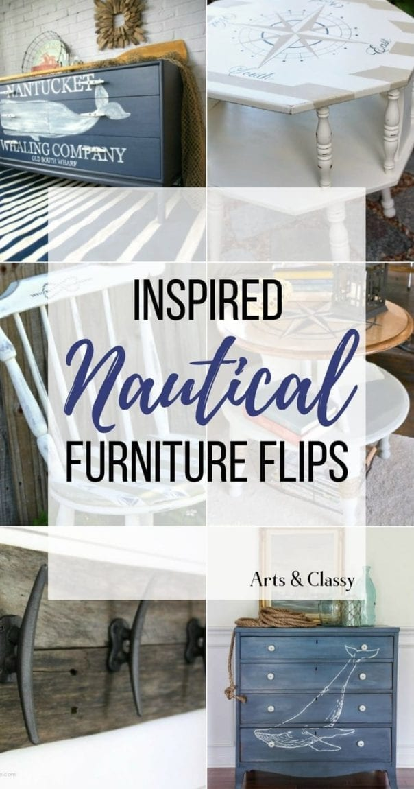 Check out these 15 Nautical Furniture Flips - DIY furniture inspiration with coastal flair. How to paint furniture for nautical and coastal home decor.