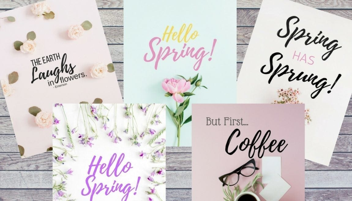 Grab these FREE glam spring printables to add to your seasonal decor. Six free printables, perfect for spring decorating.