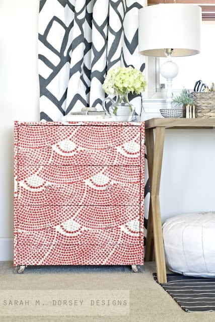Fabric Wrapped Ikea Rast Hack from Dorsey Designs