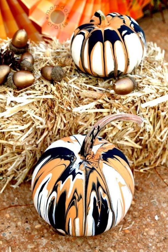 Drip Painted Pumpkins