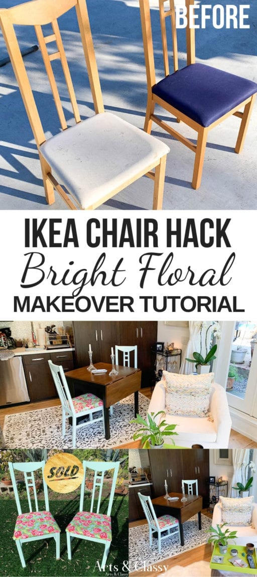 Ikea Chair Hack Colorful Bright Floral Furniture Makeover Arts And