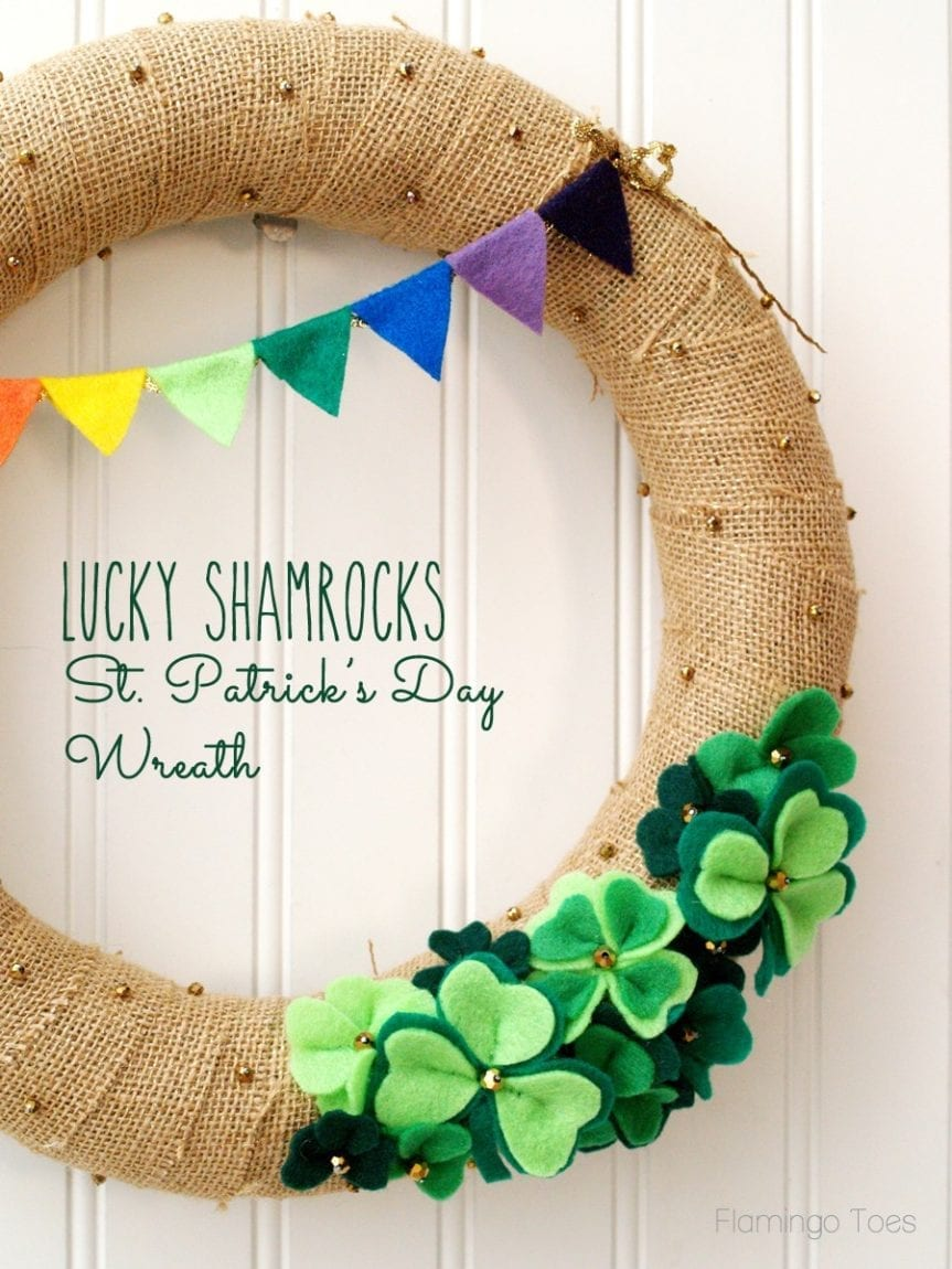 Check out these amazing St. Patricks day decor ideas for your home! You can decorate your home on even the smallest of budgets. This lucky shamrock wreath is perfect for the holiday.